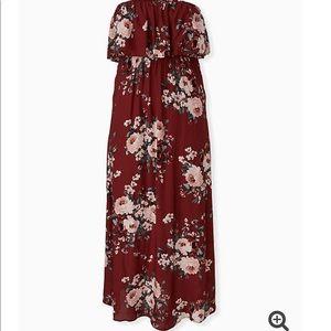 Brick Red Floral Challis Strapless Maxi Dress